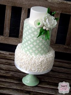 Wedding Double Barrel Wedding double barrel with Peony and ranunculus Mint Wedding Cake, Round Wedding Cakes, Wedding Cake Toppers, Beautiful Wedding Cakes, Beautiful Cakes, Double Barrel Cake, Dummy Cake, Mint Cake, Cool Cake Designs