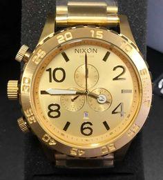 Relógio Nixon – 51-30 Chrono – Dourado – Réplica Premium AAA+ Gold Watch, Watches, Woman Watches, Crystals Minerals, Sapphire, Luxury, Bracelets, Clocks, Clock