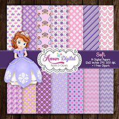 Kit de Papeles Digitales Fiesta Princess Sofia / Sofia the First Digital Papers / Clipart Crea Invitaciones , Etiquetas y más!