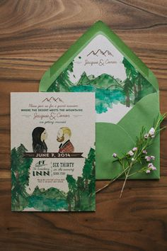 Rustic Woodland Wedding Invitation: Custom Water Color Illustrations
