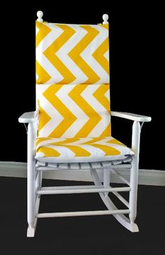 Big Yellow Chevron Rocking Chair Covers, Zig Zag Seat Covers | affordable, designer, custom, handmade, trendy, fashionable, locally made, high quality Rocking Chair Covers, Rocking Chair Cushions, Rocking Chairs, Nursery Glider Chair, Rocking Chair Nursery, Yellow Chevron, Big Yellow, Chair Cushion Covers, Seat Covers