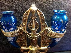 Vintage Epergne Centerpiece with Blue Horns Enamel and Gold Gilt ...sold for $151.50