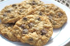 Crispy Chocolate Chip Oatmeal Cookies. I substituted the chocolate chips with half a cup of coconut and half a cup of pecans!!! Sooo delicious!!!