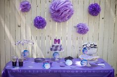 inexpensive kids purple birthday party ideas. lots of DIY decorations.