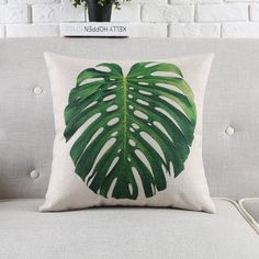 Decorative pillow Euro cushion cover/tropical leaves palm