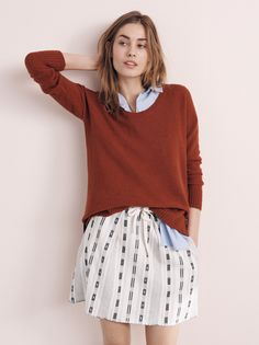 madewell chronicle sweater worn with the composer shirt + summer jacquard skirt.