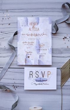 Gold Foil Shimmer & Watercolor Wedding Invitation Suite
