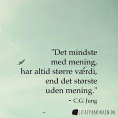 """""""Det mindste med mening, har altid større værdi, end det største uden mening."""" - C.G. Jung http://citatfabrikken.dk/citat/c.g.-jung/2065/"""
