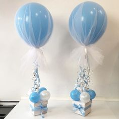 Pretty! Tulle covered Balloons for a christening today. .. .. #tulleballoons #tulle #christening #christeningballoons #blue #caketable #balloons #decor #tabledecorations