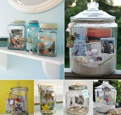 How To Organize Your Lovely Family Memories With Creative DIY Glass Jars Mason Jar Crafts, Mason Jars, Old Candle Jars, Pots, Diy Carpet Cleaner, Vacation Memories, Creation Deco, Cool Art Projects, Beach Crafts
