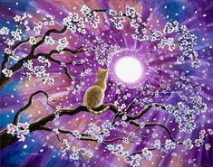 Orange Painting - Champagne Tabby Cat In Cherry Blossoms by Laura Iverson