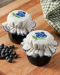 Blueberry handmade jam jar covers