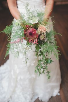 protea wedding bouquet! // photo by RyanPricePhoto.com
