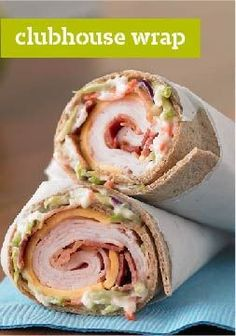 Clubhouse Wrap – The classic turkey and bacon club sandwich gets all wrapped up in a whole wheat tortilla with crunchy broccoli slaw.