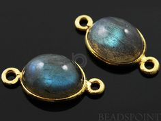 Natural Labradorite Bezel Oval Component 24K Gold by Beadspoint, $8.99