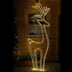 figur rentier 150 x 52 cm aus 6 m neon lichtschlauch mit 720 led warmwei geeignet f r garten. Black Bedroom Furniture Sets. Home Design Ideas