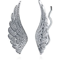 BERRICLE Sterling Silver CZ Angel Wings Fashion Cuff Earrings (77 CAD) ❤ liked on Polyvore featuring jewelry, earrings, clear, ear crawlers, women's accessories, sterling silver cz earrings, angel wing jewelry, cubic zirconia earrings, sparkly earrings and cz earrings