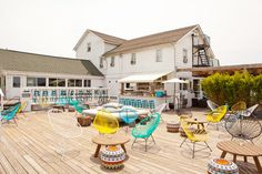 Love the pops of color and eclectic seating at The Surf Lodge Montauk
