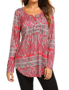 Women s Paisley Printed Long Sleeve Henley V Neck Pleated Casual Flare  Tunic Blouse Shirt at Amazon b90090c37