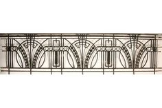 Art Deco wrought iron balcony panel with returns circa Dimensions: Ht: Width: Depth: - Live Auctioneers Motif Art Deco, Art Deco Pattern, Art Deco Design, Metal Deck Railing, Balcony Railing, Railings, Art Fer, Escalier Art, Headboard Art