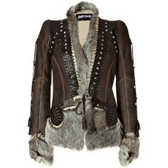 Just Cavalli Brown Chocolate Boho Leather and Fur Combo Jacket ❤ liked on Polyvore featuring outerwear, jackets, coats, tops, boho jacket, 100 leather jacket, bohemian jacket, fur leather jacket and genuine leather jackets