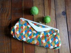 Vintage Leather Clutch 1960s Patchwork by SassySisterVintage
