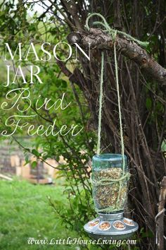 How cute is this Mason Jar Bird Feeder? It& SO easy to make (takes 5 minutes) and only costs a few dollars! How cute is this Mason Jar Bird Feeder? Its SO easy to make (takes 5 Mason Jar Projects, Mason Jar Crafts, Diy Projects, Project Ideas, Craft Ideas, Outdoor Projects, Outdoor Ideas, Outdoor Spaces, Outdoor Living