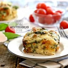 Crockpot Healthy Sausage Mediterranean Quiche - use coconut milk instead of dairy milk and almond cheese - breakfast for a week at the dorm :)