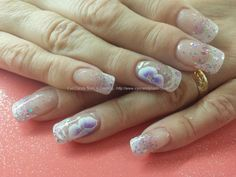 White tips with glitter and one stroke nail art