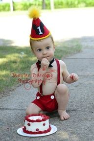 Baby / Boy Toddler Party Hat Bowtie  Boxers First Birthday Photo Cake Smash Outfit in Mickey Mouse Red and Yellow. $43.85, via Etsy.