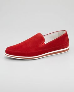 Suede Slip-On, Red by Prada at Bergdorf Goodman.