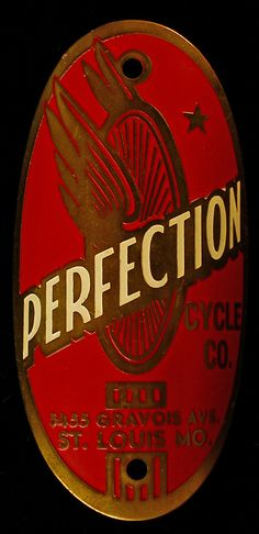 Perfection Cycle Company - Antique Bicycle Badge / Emblem - St. Louis