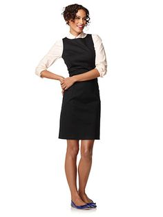 Spring 2013 outfit --- like how they put a collared shirt under a dress w/ flats....
