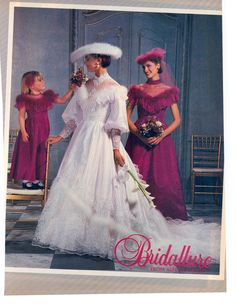 1985 Furry wedding gowns were a thing? Ugly Wedding Dress, Antique Wedding Dresses, Retro Wedding Dresses, Retro Weddings, Vintage Bridesmaid Dresses, Wedding Dress Sleeves, Designer Wedding Dresses, Wedding Attire, Vintage Dresses