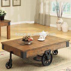 Distressed Wood Country Wagon Coffee Table with Wheels #Coffee_Table, #Distressed