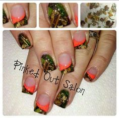 Camp nails, using real leaves