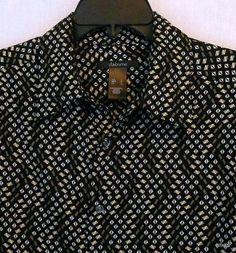 Claiborne Men's Short Sleeve Shirt Size L 100% Rayon Black Geometric Print