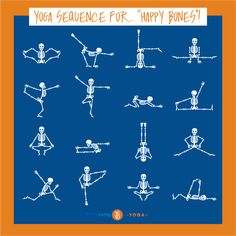 "Keep in good ""spirits"" 💀 today with this Yoga sequence for ""Happy Bones""! 💀😉Have a safe and happy Halloween! Yoga Sequences, Yoga Poses, Good Spirits, Happy Halloween, Bones, Dice, Legs"