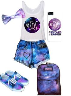 galaxy outfits for girls | ... galaxy shorts galaxy bowtie cute backtoschoolschopping ideas outfits