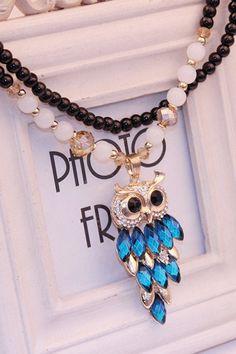 Blue Owl Necklace