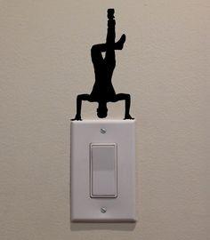 Hip Hop Dancer Headstand On Light Switch  by DecalPhanatics