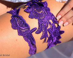 Wedding Garter Plum Purple Bridal Garter Purple Wedding