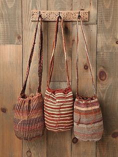 Fique Mochila Woven Bucket bag.  Handmade by Colombia tribes striped,
