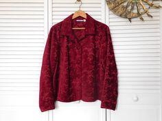 Red Brocade Jacket Tapestry Coat Size XL Vintage Boho Hippie Clothes Bohemian Blazer by LandofBridget on Etsy