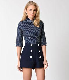 Retro Style Navy Blue  White Stripe Half Sleeve Button Up Blouse