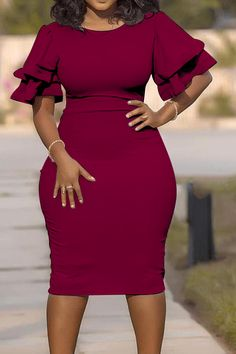 Lovely Casual O Neck Ruffle Wine Red Knee Length Plus Size Dress online shopping mall, buying fashion dresses & rapid delivery. Wine Red Dress, Pink Dress, Burgundy Dress, Moda Afro, Looks Plus Size, Ruffle Sleeve Dress, Sleeve Dresses, Latest African Fashion Dresses, Latest Fashion