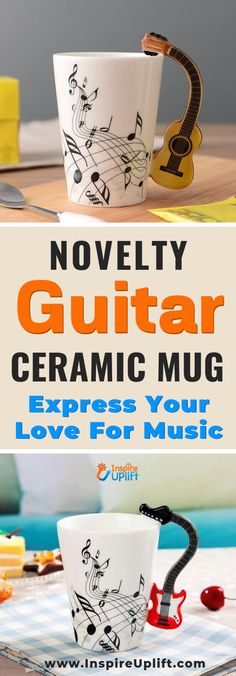 Novelty Guitar Ceramic Mug 😍 - Made of Durable White Ceramic, this coffee mug, with an easy grip handle has a hefty but classic fe - Ceramic Mugs, Ceramic Art, Motif Music, Motifs Beanie, Standard Coffee, Funky Design, Pottery Mugs, Christmas Mugs, Things To Buy