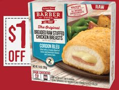 $1 OFF Barber Foods Breaded Stuffed Chicken Breasts, Cordon Bleu