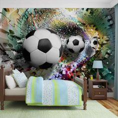 Giant non-woven wallpaper murals Colorful Puzzle Football 3381 Paper Wallpaper, Room Wallpaper, Photo Wallpaper, Wallpaper Murals, Bedroom Murals, Kids Bedroom, Wall Murals, Disney Mural, Football Bedroom