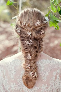 Medieval Wedding Braided Hairstyle. I love the ethereal touch of the flowers in the hair <3
